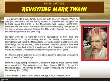 multi leveled mark twain constructed response practice word work ri810