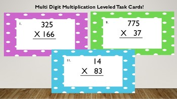 Multi Leveled Multi Digit Multiplication Task Cards