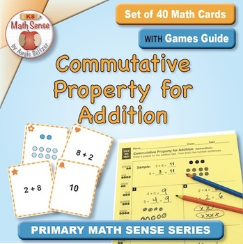 Commutative Property for Addition: 40 Math Matching Game Cards 1A