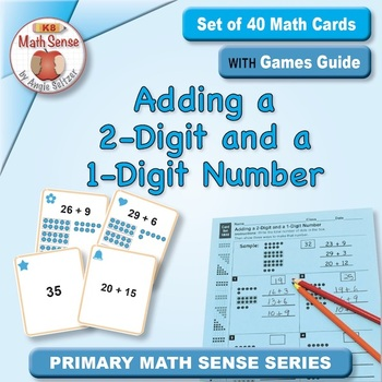 Adding a 2-Digit and a 1-Digit Number: 40 Math Matching Game Cards 1B