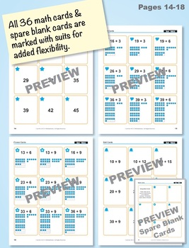 Adding a 2-Digit and a 1-Digit Number: 40 Math Matching Game Cards 1B32