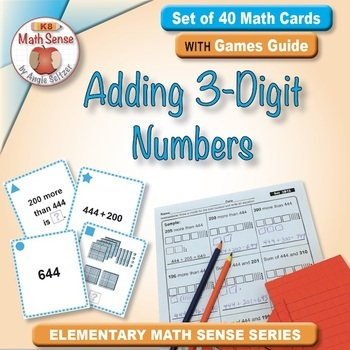 Adding 3-Digit Numbers: 40 Math Matching Game Cards 3B12