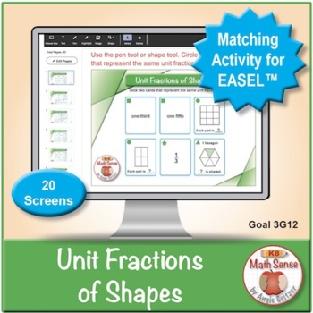 Multi-Match Game Cards 3G: Unit Fractions of Shapes