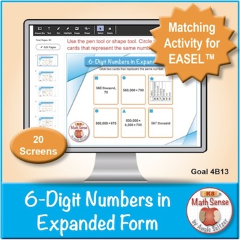 Multi-Match Game Cards 4B: 6-Digit Numbers in Expanded Form