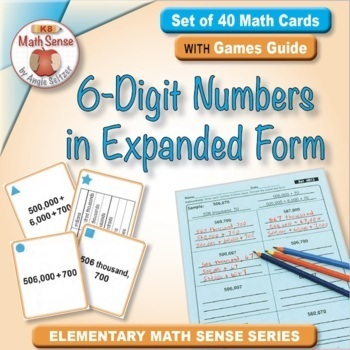 6-Digit Numbers in Expanded Form: 40 Math Matching Game Cards 4B13