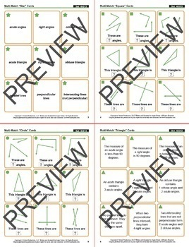 Acute, Right, and Obtuse: 40 Math Matching Game Cards 4G Geometry