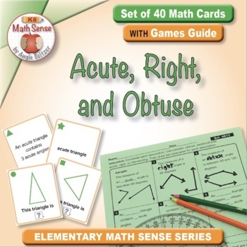 Acute, Right, and Obtuse: 40 Math Matching Game Cards 4G13 Geometry