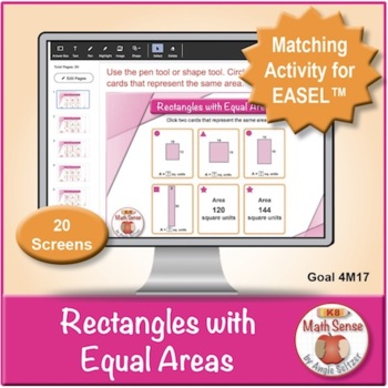 Rectangles with Equal Areas: 40 Math Matching Game Cards 4M17