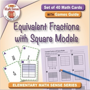 Multi-Match Game Cards 5F: Equivalent Fractions with Square Models