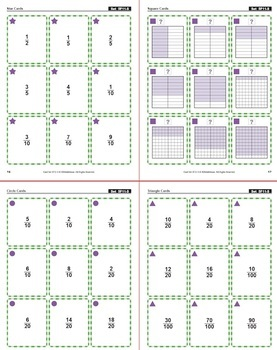 Equivalent Fractions with Square Models: 40 Math Matching Game Cards 5F