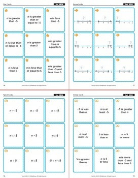 Inequalities on a Number Line: Math Matching Game Cards 6E