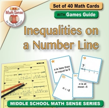 Inequalities on a Number Line: 40 Math Matching Game Cards 6E26