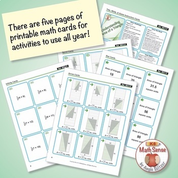 FREE Understanding Area of a Triangle: 40 Math Matching Game Cards 6G
