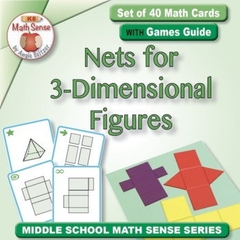 Nets for 3-Dimensional Figures: 40 Math Matching Game Cards 6G18