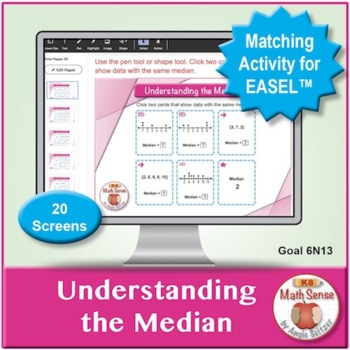 Understanding the Median: 40 Math Matching Game Cards 6S13