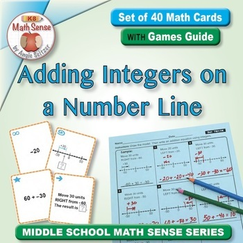 Adding Integers on a Number Line: 40 Math Matching Game Cards 7N