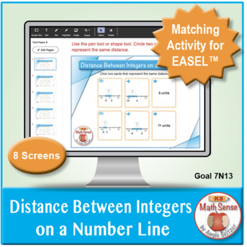 Multi-Match Game Cards 7N: Distance Between Integers on a Number Line
