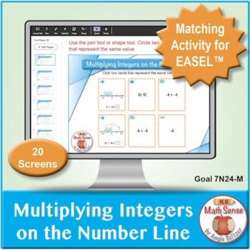 Multiplying Integers on the Number Line: 40 Math Matching Game Cards 7N