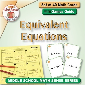 Equivalent Equations: 40 Math Matching Game Cards 8E31