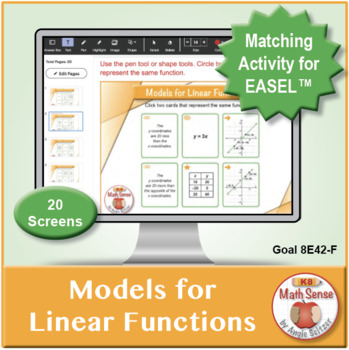 Models for Linear Functions: 40 Math Matching Game Cards 8E42