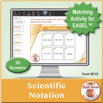 Scientific Notation: 40 Math Matching Game Cards 8E15