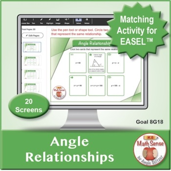 Angle Relationships: 40 Math Matching Game Cards 8G18 Geometry