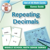 Fractions as Repeating Decimals: 40 Math Matching Game Cards 8N