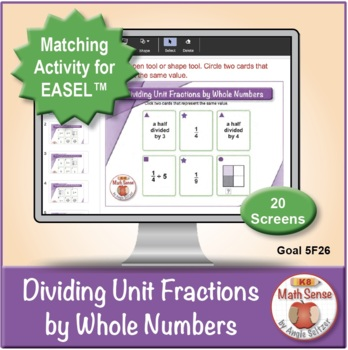 Dividing Unit Fractions by Whole Numbers: 40 Math Matching Game Cards 5F