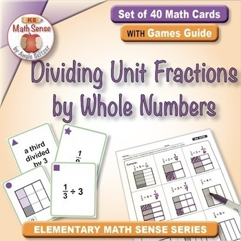 Dividing Unit Fractions by Whole Numbers: 40 Math Matching Game Cards 5F26