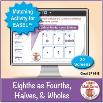 Eighths as Fourths, Halves, Wholes: 40 Math Matching Game Cards 3F16