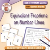 Equivalent Fractions on Number Lines: 40 Math Matching Game Cards 4F