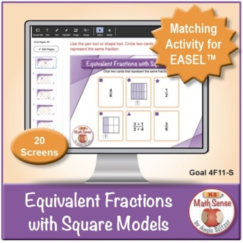 Multi-Match Game Cards 4F: Equivalent Fractions with Square Models