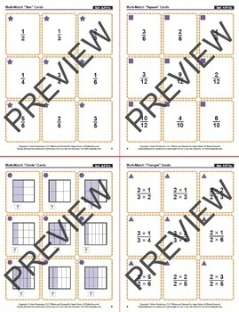 Equivalent Fractions with Square Models: 40 Math Matching Game Cards 4F11