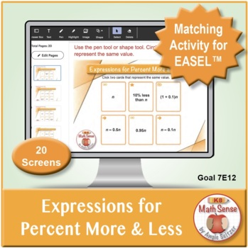 Expressions for Percent More and Less: 40 Math Matching Game Cards 7E12
