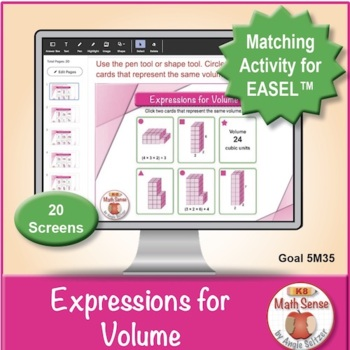 Expressions for Volume: 40 Math Matching Game Cards 5M35
