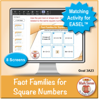 Multi-Match Cards 3A: Fact Families for Square Numbers