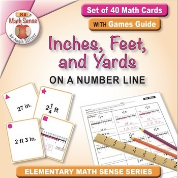 Inches, Feet, and Yards on a Number Line: Math Matching Game Cards 4M