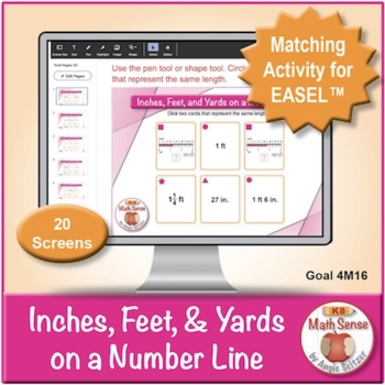 Inches, Feet, and Yards on a Number Line: 40 Math Matching Game Cards 4M