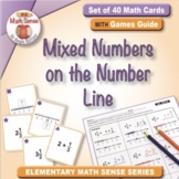 Mixed Numbers on the Number Line: 40 Math Matching Game Cards 4F