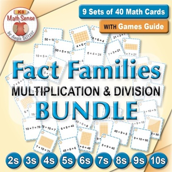 Multiplication and Division Fact Families: Math Matching Game Cards BUNDLE
