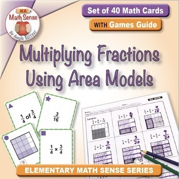 Multiplying Fractions Using Area Models: 40 Math Matching Game Cards 5F23