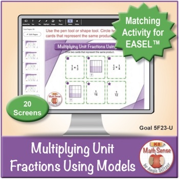 Multi-Match Game Cards 5F: Multiplying Unit Fractions Using Models
