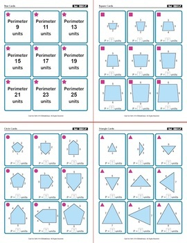 Perimeter of Polygons: 40 Math Matching Game Cards 3M41