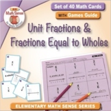 Unit Fractions and Fractions Equal to Wholes: 40 Math Matching Game Cards 3F