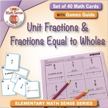 Unit Fractions and Fractions Equal to Wholes: 40 Math Matching Game Cards 3F16