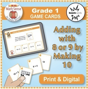 Multi-Match Game Cards 1A: Adding with 8 or 9 by Making 10 {Print & Digital}