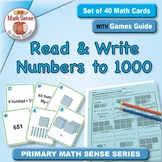 Read & Write Numbers to 1000: 40 Math Matching Game Cards 2B