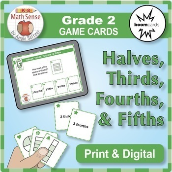 Multi-Match Game Cards 2G: Halves, Thirds, Fourths, and Fifths {Print & Digital}