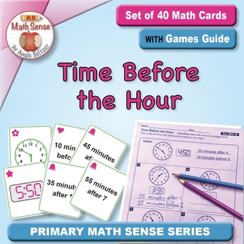 Math Matching Game Cards 2M: Time Before the Hour
