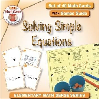 Multi-Match Game Cards 4A: Solving Simple Equations